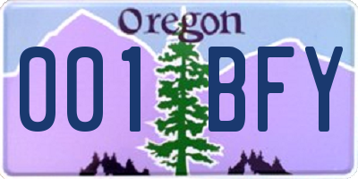 OR license plate 001BFY