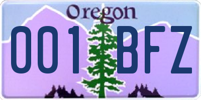 OR license plate 001BFZ