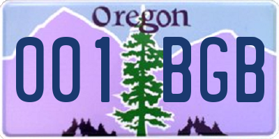 OR license plate 001BGB