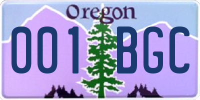 OR license plate 001BGC