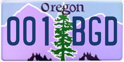 OR license plate 001BGD