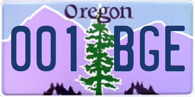 OR license plate 001BGE