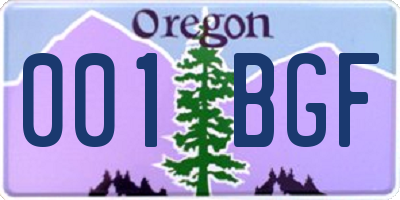OR license plate 001BGF