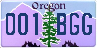 OR license plate 001BGG