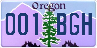 OR license plate 001BGH