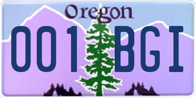 OR license plate 001BGI