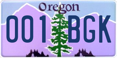OR license plate 001BGK