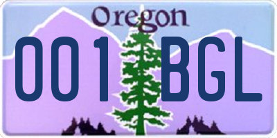 OR license plate 001BGL