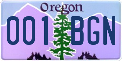 OR license plate 001BGN