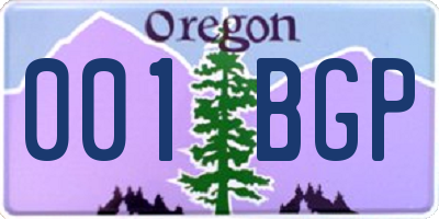 OR license plate 001BGP