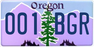 OR license plate 001BGR