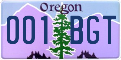 OR license plate 001BGT