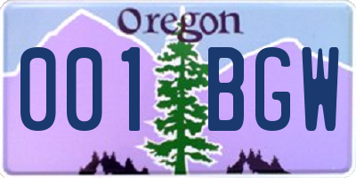 OR license plate 001BGW