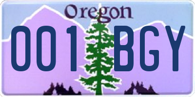 OR license plate 001BGY