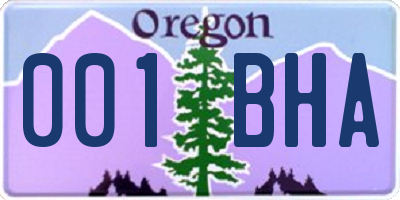OR license plate 001BHA