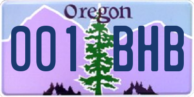 OR license plate 001BHB