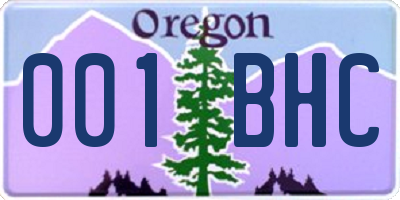OR license plate 001BHC