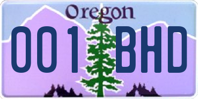 OR license plate 001BHD