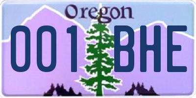 OR license plate 001BHE