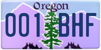 OR license plate 001BHF