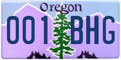 OR license plate 001BHG