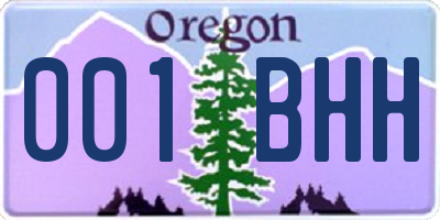 OR license plate 001BHH