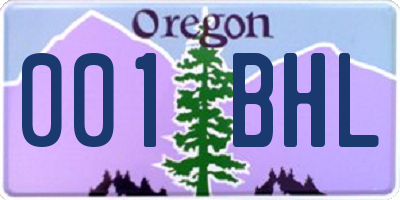 OR license plate 001BHL
