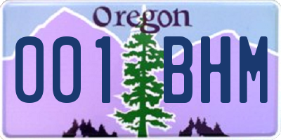 OR license plate 001BHM
