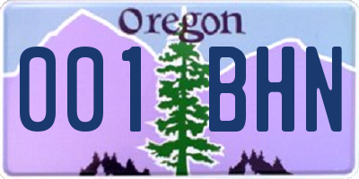 OR license plate 001BHN