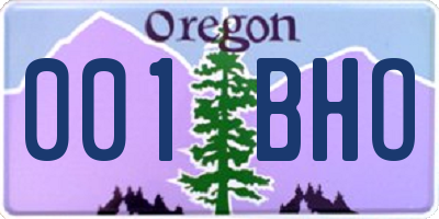OR license plate 001BHO