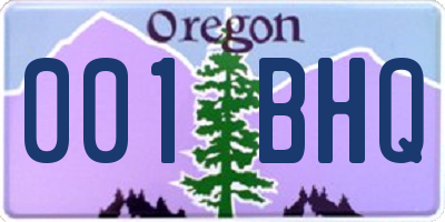 OR license plate 001BHQ