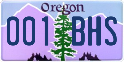 OR license plate 001BHS