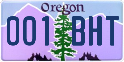 OR license plate 001BHT