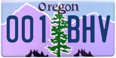 OR license plate 001BHV