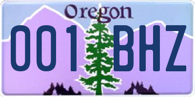 OR license plate 001BHZ
