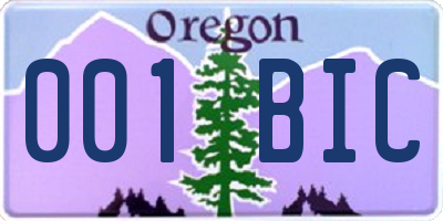 OR license plate 001BIC