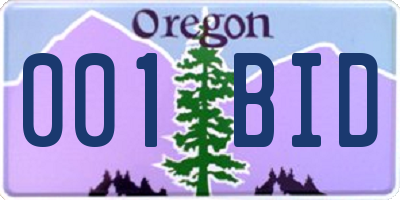 OR license plate 001BID