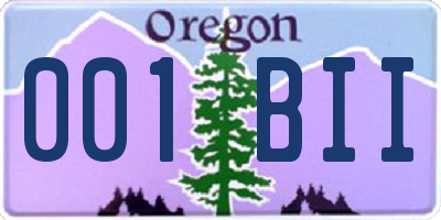 OR license plate 001BII