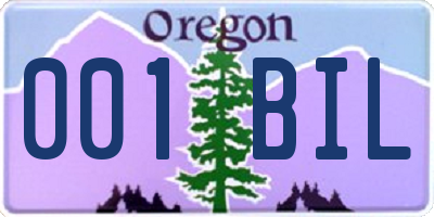 OR license plate 001BIL
