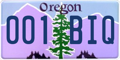 OR license plate 001BIQ