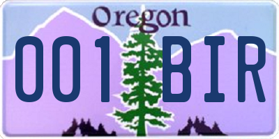OR license plate 001BIR