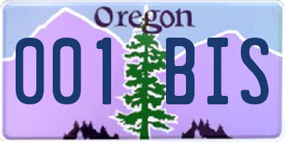OR license plate 001BIS