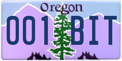OR license plate 001BIT