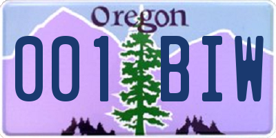 OR license plate 001BIW
