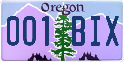 OR license plate 001BIX