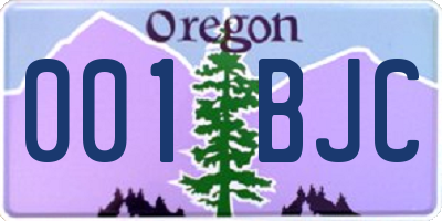 OR license plate 001BJC