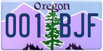 OR license plate 001BJF