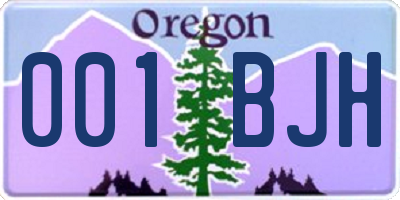 OR license plate 001BJH