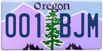 OR license plate 001BJM