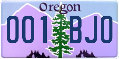 OR license plate 001BJO